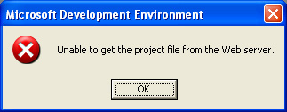 Unable to get the project file from the Web server